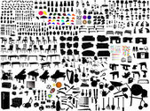 Collection of household items - vector