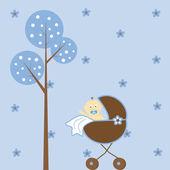 Cute blue baby boy in stroller