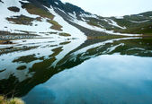 Reflections on the summer alpine lake