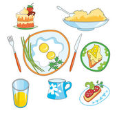 Icon set - foods including eggs sausage sandwich and cheese orange juicea piece of cake a cup of tea a plate of porridge a fork and knife