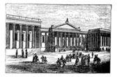 British Museum in London United Kingdom (England) vintage engraving from 1890s Old engraved illustration of a city scene in front of the British Museum in Lo