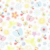 Sommer-Muster von Blumen und Schmetterlingen