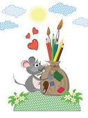 Mouse with bag of the pencils and brushes