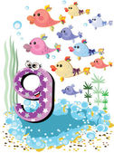 Sea animals and numbers series for kids from 0 to 10 -9 fish