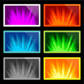 Illustration of colorful rays of light on various displays