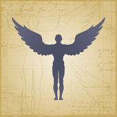 Winged man on grunge background Vector illustration with clipping mask