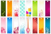 Illustration of set of colorful floral bookmark