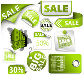 Set of green discount tickets labels stamps stickers corners tags (vector)