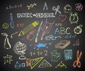 Back to school - set of school doodle vector illustrations
