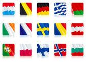 Set icon - flags of Bulgaria Norway Finland Poland Portugal Austria Romania Sweden France IrelandBelarus Greece Germany Luxembourg Belgium