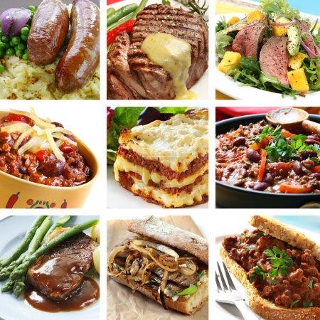 Постер, плакат: Beef Meals Collage, холст на подрамнике