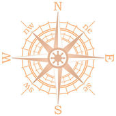 Vector illustration of brown sailing compass