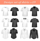 Black and white t-shirts Photo-realistic vector illustration