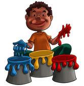 Dítě hraje s barvou