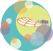 Vector cicada illustration circles color