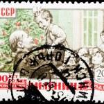 Постер, плакат: Postal stamp V I Lenin and the child 1960