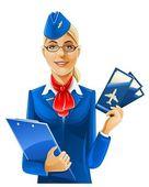 Schöne Stewardess mit Flugtickets