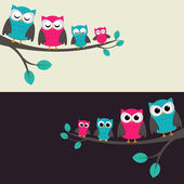 Family of owls sitting on a branch Two variations
