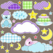 Set of vector elements on night theme