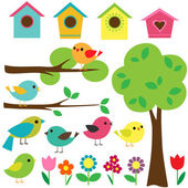 Set birds with birdhouses trees and flowers