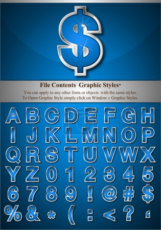 Постер, плакат: Blue Alphabet with Silver Emboss Stroke, холст на подрамнике