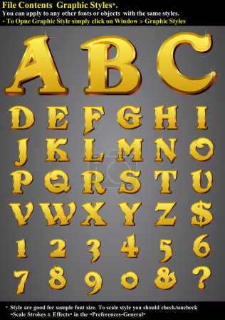 Постер, плакат: Set Gold 3D Alphabet, холст на подрамнике