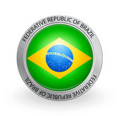 Vector illustration of a badge with the flag of Federative Republic of Brazil