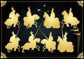 Středověkých rytířů v bitvě vektorové pozadí, rider vůdce duel