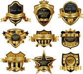 Decorative ornate gold frame label