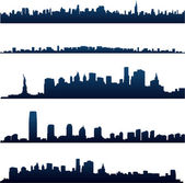 New york city skylines reflect on water