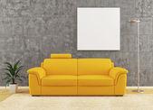 žlutá pohovka interiérového designu