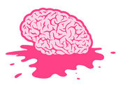 Splattered pink brain in puddle