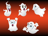 Vector illustration of five spooky Halloween ghosts