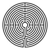 Simple black circular labyrinth on white background
