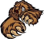 Medvěd grizzly maskot tělo s tlapky a drápy