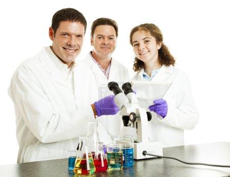 Постер, плакат: Happy Scientists in Lab, холст на подрамнике