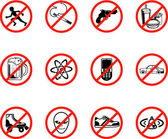 A series set of icons all outlining things that are prohibited or are calling on to be banned! Eg No running no smoking no firearms no eating no alcohol