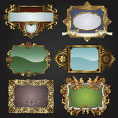 Vintage retro glossy gold frames and labels in a variety of retro antique styles
