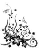 A gorgeous single colour silhouette corner flower design with butterflies