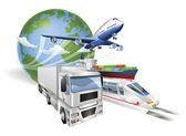 Globale Logistik Konzept Flugzeug LKW Zug Schiff