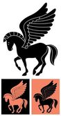 Stylized picture of the winged horse Pegasus inspired by drawings on Greek vases No transparency and gradients used