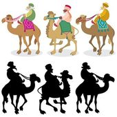 The three wise men and their camels isolated on white Silhouettes are also included No transparency and gradients used