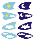Sun moon and clouds - vector weather icons illustrations - clip art isolated on white background