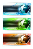 Hi Tech business card or web header backgrounds with 3D earth design and 3 colours option