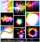 Rainbow Backgrounds Collection - 9 Flyer or brochures with colorful abstract motive - Set 3