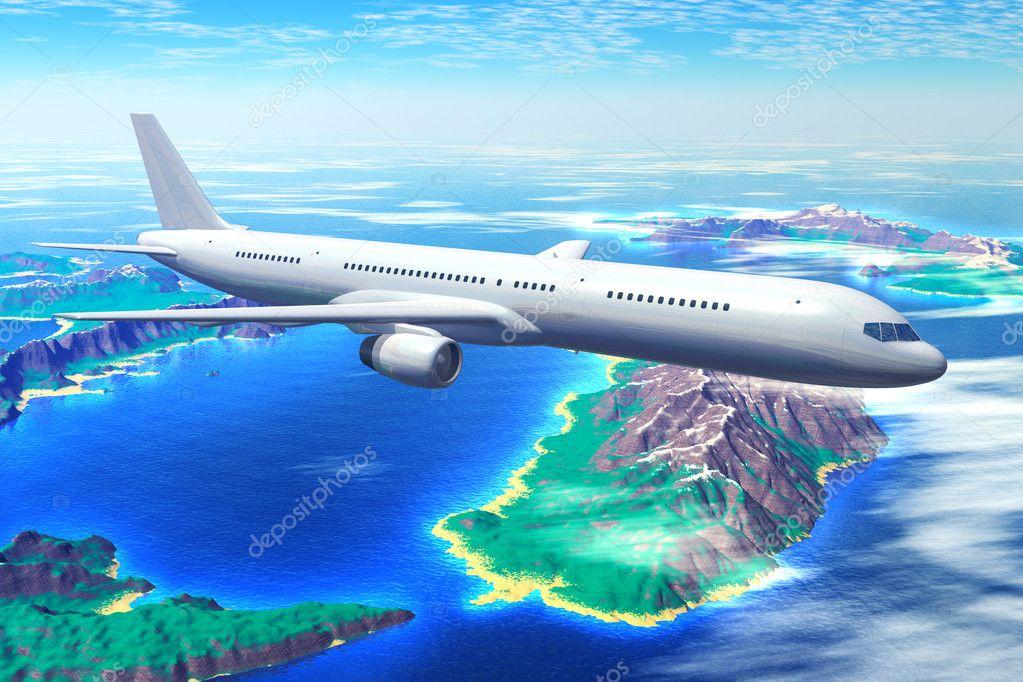 Scenic airliner flight over the ocean with resort islands