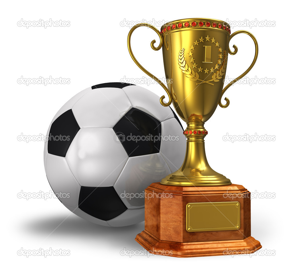 Золотий трофей з футболу і футбол м яч ізольовані на білому тлі — Фото від  scanrail. Знайти схожі зображення 575941ccd1a0b