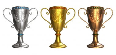Set of gold, silver and bronze trophy cups