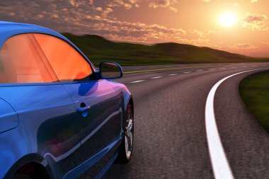 Blue car driving by autobahn in sunset with motion blur