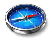 Fotografie modrý kovový kompas